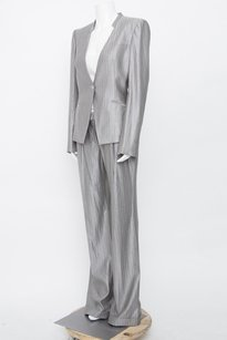 Alexander McQueen Alexander Mcqueen Grey Stripe Wool Silk Jacket Wide Pant Suit 4642