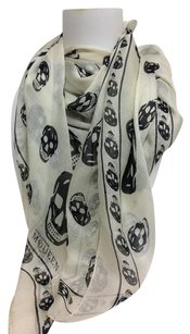 Alexander McQueen Cream and black silk chiffon Skull scarf