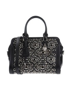 Alexander McQueen Italian Leather Studded Luxury Satchel in Black