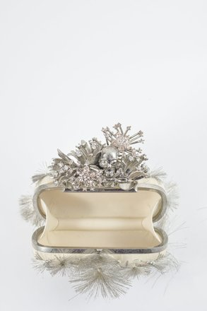 Alexander McQueen Skull Knuckle Silver Ivory Clutch
