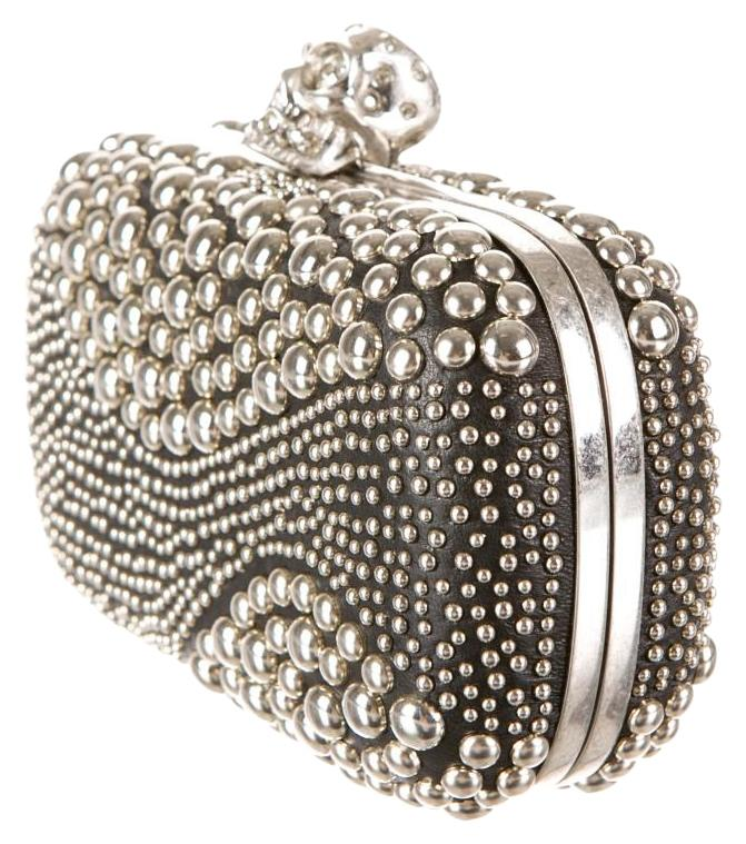 Alexander McQueen Skull Includes Box Black & Silver Clutch on Sale ...