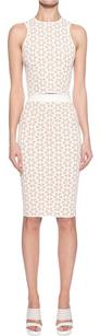 Alexander McQueen Beige Embossed Jacquard Knit Top Skirt Suit Set Xsp Dress