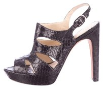 Alexandre Birman Python Snakeskin Cut Out Black Sandals