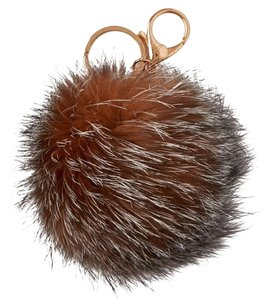 Denali Crystal Real Fox Fur Pom-Pom Bag Charm/Keychain