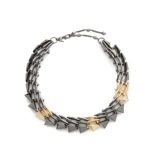Alexis Bittar 10k Gold Ruthenium Multi Spikes Origami Link Necklace