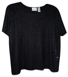 Alfred Dunner Top Black with black stones