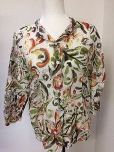 Alfred Dunner Womens Sheer Green Brown Print Top Yellow