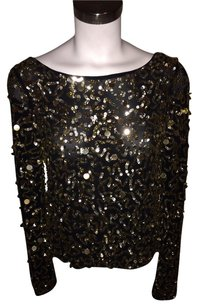 Alice + Olivia Sequin Sequins Boatneck Crop Pixie Top Black