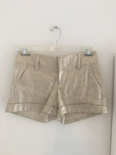 Alice + Olivia Gold Nwt Dress Shorts Beige/Gold