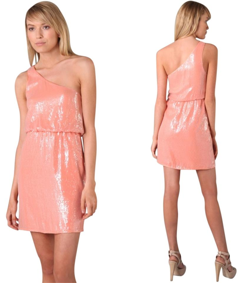 Alice olivia salmon pink one shoulder sequin short night out dress alice olivia sequin one shoulder date dress ombrellifo Images