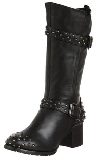 ALL BLACK Biker Studded Black Boots