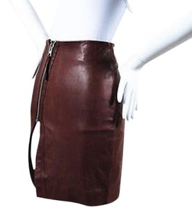 AllSaints Maroon Leather Skirt Red