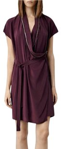 AllSaints Spitalfields Adria Burgundy Red Silk Draped Zipper 106 Dress
