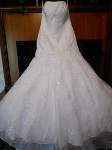 Allure Bridals Ivory Satin/Lace/Tulle P907 Traditional Wedding Dress Size 12 (L)