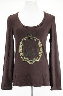 Alviero Martini Ruched Sleeve T Shirt Brown