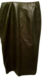 Amalfi Leather Skirt Black