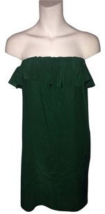 Amanda Uprichard short dress Emerald Green Green Emerald Silk Ruffle Strapless Petite on Tradesy