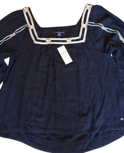 American Eagle Outfitters Boho Loose Fit Top Navy Blue