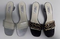 American Eagle Outfitters Lot Of Two Kitten Sandals Man Made B3465 Clear And Brown Pumps