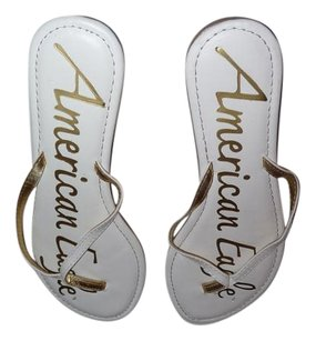 American Eagle Outfitters White and Gold Sandals