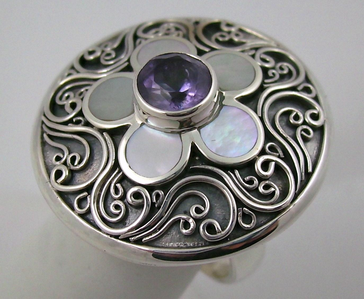 Amethyst and Motherofpearl Bali Designs Sterling Silver Ring Tradesy