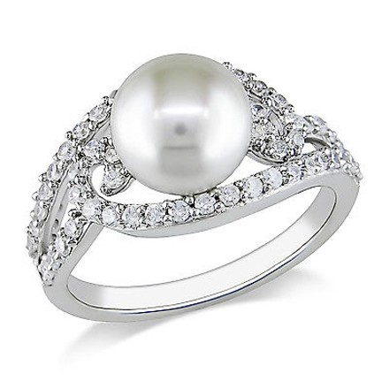 Amour 1 Ct White Cubic Zirconia - Mm White Freshwater Pearl Fashion Ring Silver