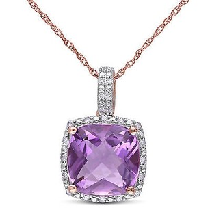 Amour 10k Rose Gold Amethyst And 110 Ct Tdw Diamond Pendant Necklace H-i I2-i3 17