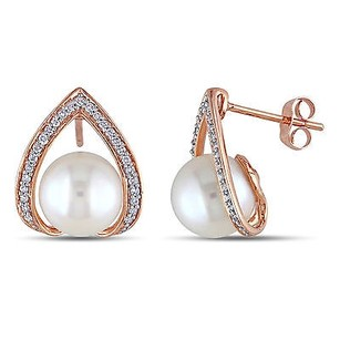 Amour 10k Rose Pink Gold Freshwater Pearl 14 Ct Tdw Diamond Stud Earrings Hi I2-i3