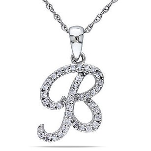 Amour 10k White Gold 16 Ct Tdw Diamond B Initial Pendant Necklace G-h I1-i2 17