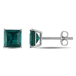 Amour 10k White Gold Simulated Emerald Solitaire Stud Earrings 2.3 Ct Tgw