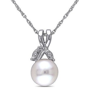 Amour 10k White Gold White Freshwater Pearl And Diamond Pendant Necklace 7.5-8 Mm 17