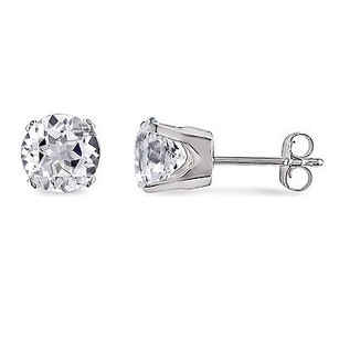 Amour 10k White Gold White Sapphire Solitaire Stud Earrings 58 Ct Tgw
