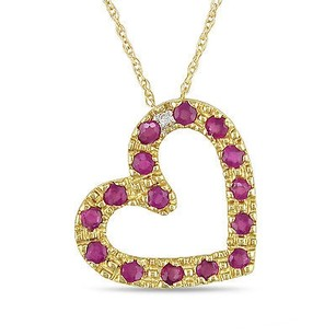 Amour 10k Yellow Gold Ruby Diamond Heart Love Pendant Necklace 12 Ct I-j I2-i3 17