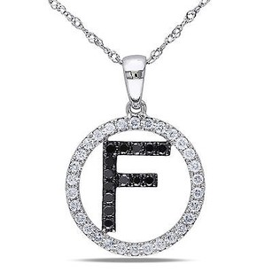 Amour 14k Gold 25 Ct Tdw Black White Diamond F Initial Pendant G-h Si1-si2 17
