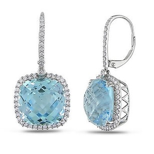 Amour 14k Gold Sky Blue Topaz 78 Ct Tdw Diamond Drop Leverback Earrings G-h Si1-si2