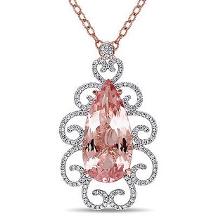 Amour 14k Rose Gold Morganite 34 Ct Tdw Diamond Teardrop Pendant G-h Si1-si2 17