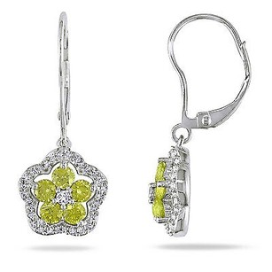 Amour 14k White Gold 1 Ct Tdw Yellow And White Diamond Drop Dangle Leverback Earrings