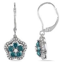 Amour 14k White Gold 1 Ct Tw Blue White Diamond Dangle Leverback Earrings Hi I1-i2