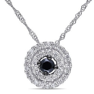 Amour 14k White Gold 12 Ct Tdw Black And White Diamond Halo Pendant Necklace 18