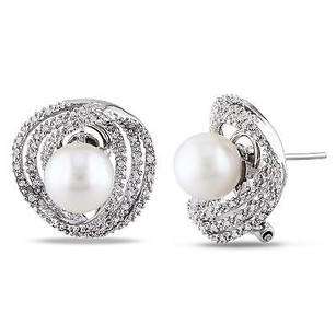 Amour 14k White Gold Pearl And 14 Ct Tdw Diamond Stud Earrings G-h S1-s2 8-8.5 Mm