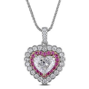 Amour 14k White Gold Pink Sapphire And 1 35 Ct Tdw Diamond Heart Pendant Necklace 17