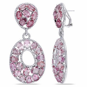 Amour 14k White Gold Pink Tourmaline 1 12 Ct Tdw Diamond Earrings G-h Si