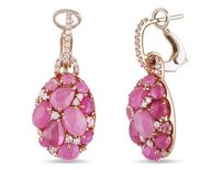 Amour 18k Rose Pink Gold Pink Sapphire 12 Ct Tdw Diamond Earrings G-h I1-i2