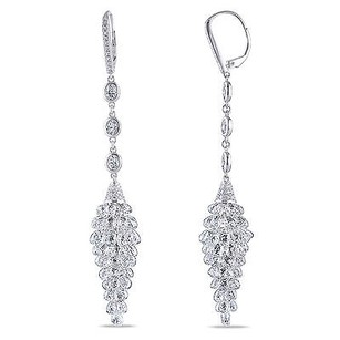 Amour 18k White Gold Ct Tdw Diamond Linear Dangle Leverback Earrings F-g Vs1-vs2