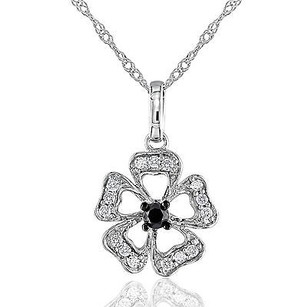 Amour Amour 10k Gold 14 Ct Tdw Black White Diamond Pendant Necklace G-h I2-i3 17