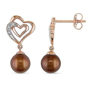 Amour Amour 10k Rose Pink Gold Cultured Freshwater Pearl And Diamond Earrings 6.5-7 Mm