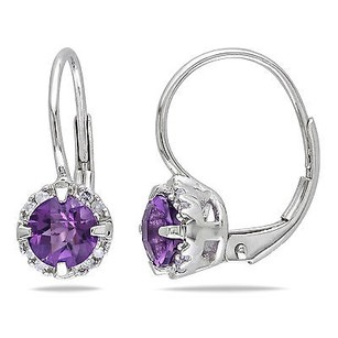 Amour Amour 10k White Gold Amethyst And Diamond Drop Dangle Leverback Earrings