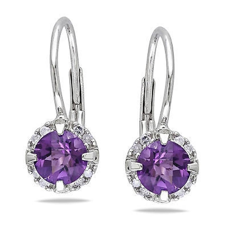 amour 10k white gold amethyst and diamond drop dangle