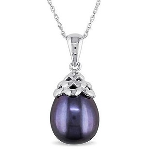 Amour Amour 10k White Gold Black Rice Freshwater Pearl Pendant Necklace 9-10 Mm 17