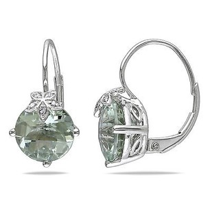 Amour Amour 10k White Gold Diamond And Green Amethyst Drop Dangle Leverback Earrings